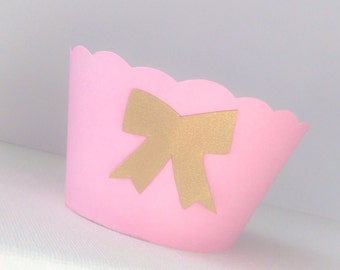 Pink and Gold Cupcake Wrappers Gold or Silver Bow