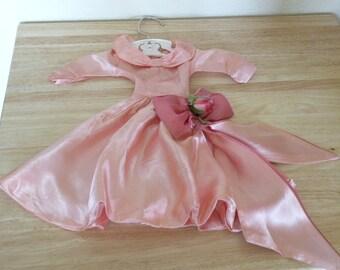 1940s Pink Satin Doll Dress