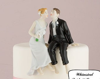 Whimsical Sitting Bride and Groom Wedding Cake Topper- Romantic Porcelain Hand Painted Couples Figurines