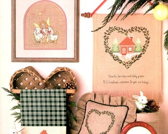 Gentle Christmas Angel Lamb Snowy House Goose Egg Fir Trees Counted Cross Stitch Embroidery Craft Pattern Leaflet Leisure Arts 506
