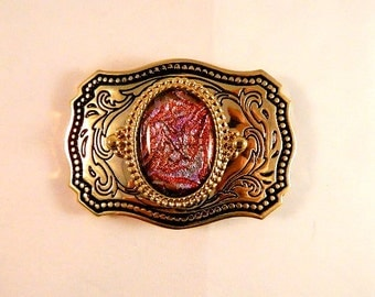 Abalony Silver and Pink Dichroic Fused Glass Belt Buckle, GB19985 style, BUC6