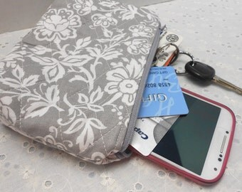 Zipper Bag Cosmetic, Camera, Gadget Bag  Gray Damask Fabric Handmade by SEW FUN QUILTS