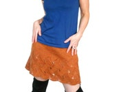 Orange Wool Skirt Cloe Lace Hand Knit Persimmon Andean Wool