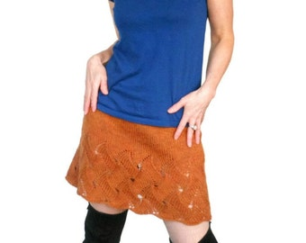 Orange Wool Skirt Cloe Lace Hand Knit Persimmon Andean Wool