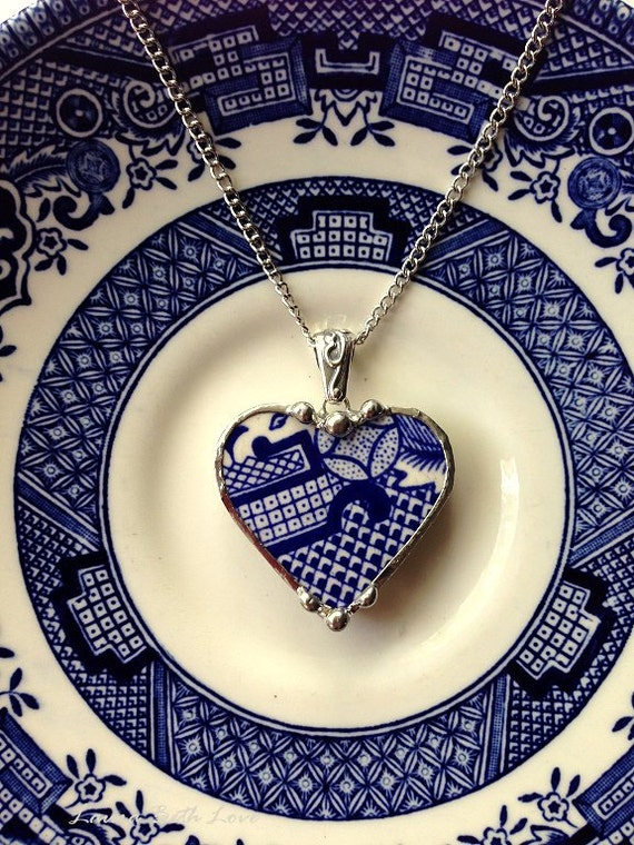 Broken China Heart Pendant Necklace Antique Oriental Blue