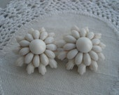 Vintage 1940's Milkglass Flower Spray Rhinestone Gold Clip Western Germany Earrings White on White