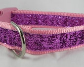 Light Pink Metallic Sparkle Dog Collar