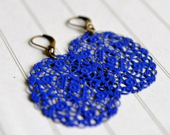 Cobalt Blue Earrings Electric Blue Filigree Oval Earrings Hand Painted Jewelry Tiny Flowers Earrings