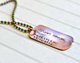 Remembrance Personalized Necklace Hand Stamped Dog Tag Copper