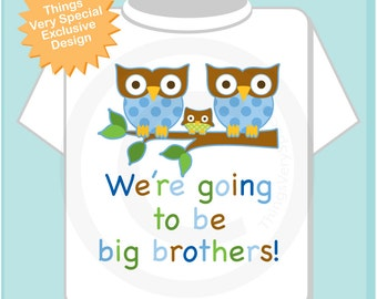 We're Going to Be Big Brothers shirt or Onesie, Twin Brother Owls with New baby announcement (10292013b)