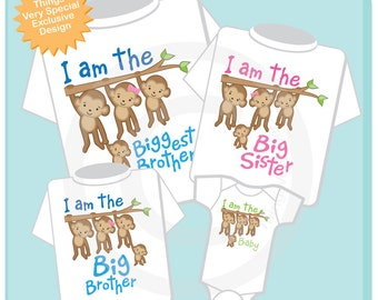 Set of Four Sibling Monkey Shirt and Onesie, I am the Biggest Brother Shirt, Big Sister, Big Brother and Baby (04172014a)