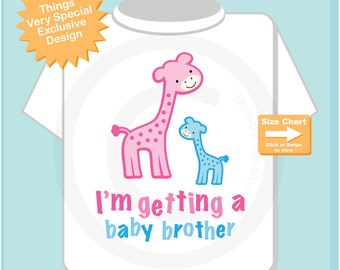 """Gender Reveal Pink and Blue Giraffes with the words """"I'm Getting A, Baby Brother"""" Announcement (09162014d)"""