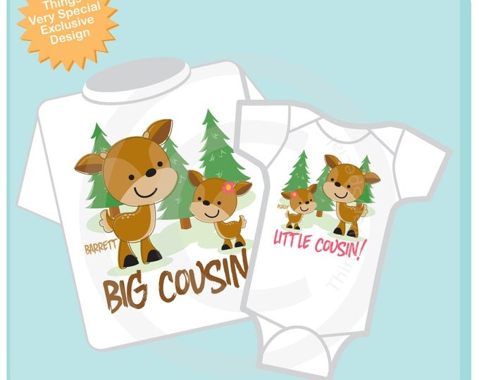 Set of Two, Personalized Big Cousin and Little Cousin buck and doe deer Shirt and Onesie, Pregnancy Announcement 11272013a