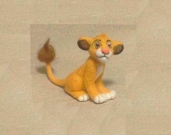 Small needle felted lion Simba