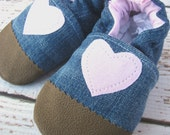 Classic Vegan Upcycled Denim Pink Heart / Non-Slip Soft Sole Shoes / Made to Order / Babies Toddlers Preschool