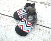 Classic Vegan Blue Gray Chevron / Non-Slip Soft Sole Baby Shoes / Made to order / Babies Toddlers Preschool
