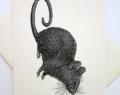 Mouse Rat Note Card Set of 10 in White or Light Ivory with Matching Envelopes