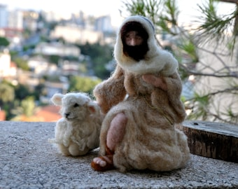 Needle felted Nativity Waldorf Good shepherd and sheep. Made to order