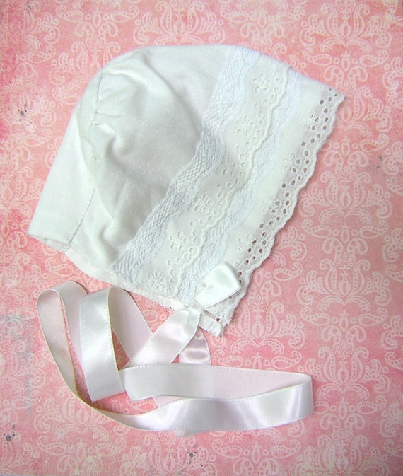 Vintage Baby Christening Bonnet - White Eyelet and Lace Trimmed Dotted Swiss Infant Sunbonnet
