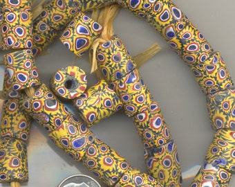 Antique African Trade Bead Venetian Millefiori Navy Blue with Gold  Beads,TBM13.TBM13A Two Sizes,  *