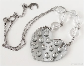 Queen Serenity, Decoden Necklace, Silver Heart Pendant, Translucent Beads, Stainless Steel Chain - Decoden Jewelry, Anime