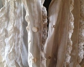 Romantic Vintage Downton Abbey Blouse Mother of Pearl Buttons