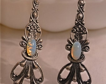 Beautiful  Long  Harlequin Glass White Opal Silver Filigree Earrings