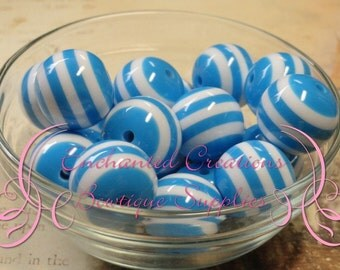 20mm Blue and White Striped Beads Qty 10