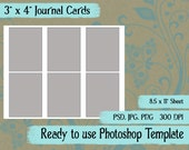 "Scrapbook Digital Collage Photoshop Template, 3"" x 4 Journaling Cards"