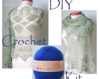 DIY Crochet Kit, Crochet shawl kit, MISITU, SAPPHIRE blue, yarn and pattern