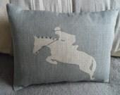 Hand printed  equestrian rider cushion