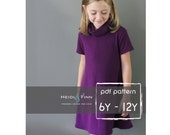 Cowl Neck Jumper Dress and sweater pattern  PDF 6 - 12y easy sew  tunic dress sweater