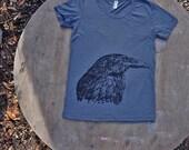 Blackbird  Raven T-Shirt American Apparel Womens Tee in Charcoal Grey