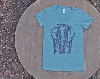 African Elephant T-Shirt American Apparel Light Green Teal Tee for Women
