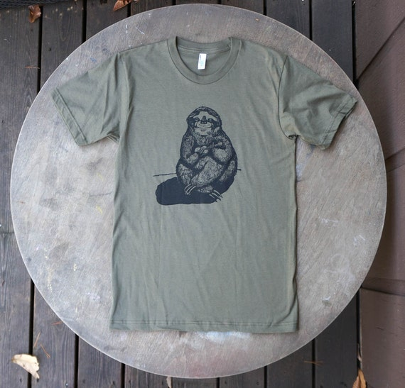 Sloth Playing the Ukulele Hand Drawn Design on American Apparel Army Green Tee for Men