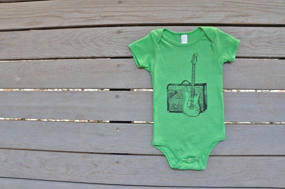 Fender Guitar Baby Unisex Onesie American Apparel  in Grass Green