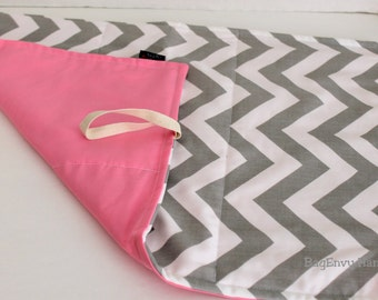 Grey Chevron and Pink Changing Pad -  Or Custom To Match Your BagEnvy HandBag