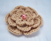 Crochet flower motif - 3.5inch one flower with bead driftwood color layered flower craft supplies