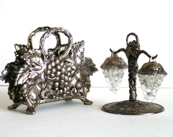 Table Set Napkin Holder and Shakers Grape Design