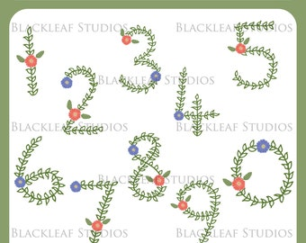 Floral Hand Drawn Numbers Flowers 0 to 9 Clip Art - Scrapbook Letters, Flower Titles, Birthday - Personal & Commercial Instant Download