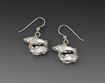 Double Salmon Sterling Silver Earrings
