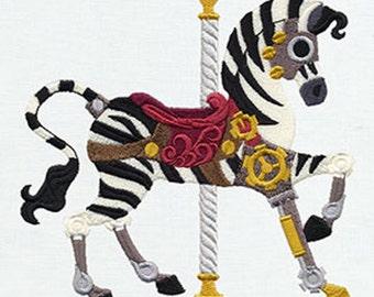 STEAMPUNK CAROUSEL ZEBRA - Machine Embroidery Quilt Blocks (AzEB)