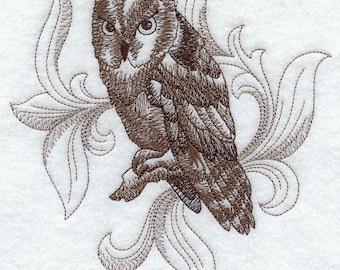 BAROQUE SCREECH OWL Sketch- Machine Embroidered Quilt Blocks (AzEB)