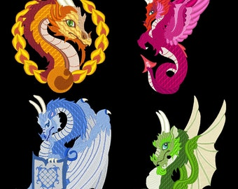 DRAGONS REIGN (4inch) - 10 Machine Embroidery Designs Instant Download 4x4 hoop (AzEB)