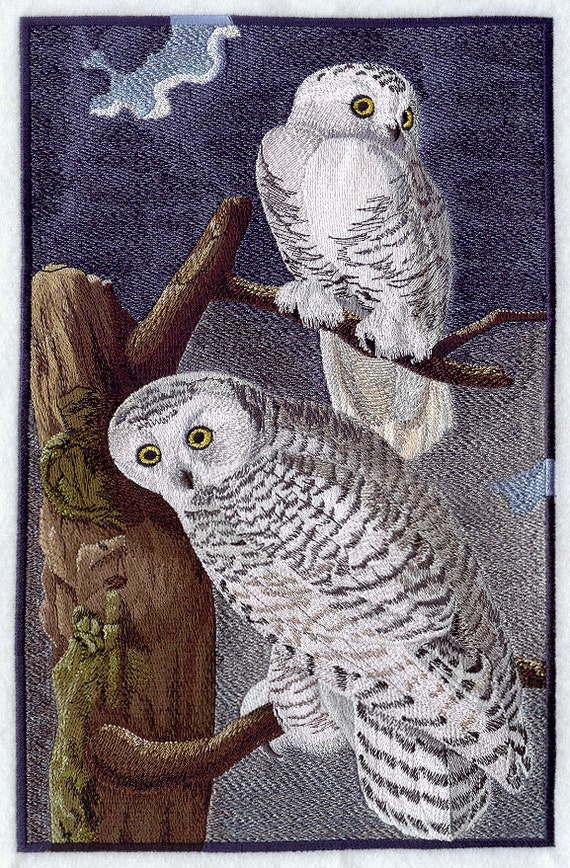 Snowy Owl On A Tree Machine Embroidered Quilt Blocks Azeb