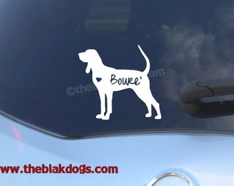 Coonhound Dog Silhouette Vinyl Sticker Car Decal Personalized