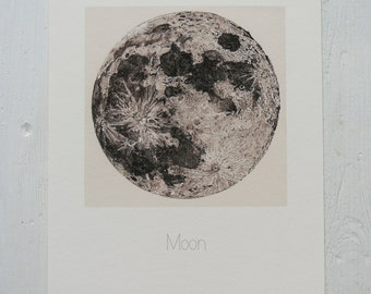 Full Moon Pen and Ink Illustration