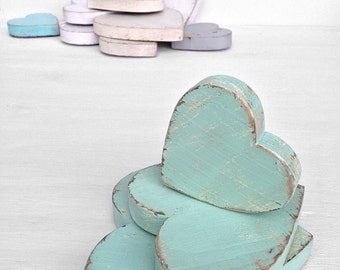 wood hearts - shabby chic distressed home decor - wedding decor - Seafoam or you choose color