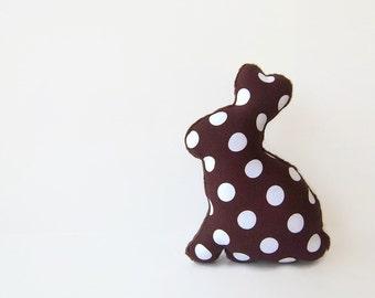 Stuffed Chocolate Easter Bunny Plush Bunny Toy Brown Polka Dot