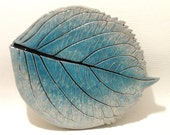 Spoon Rest, Ceramic Leaf Plate, Silver and Turquoise Hydrangea, Hand-Built Leaf Pottery